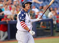 July 5, 2017 - Trenton, New Jersey, U.S - DANTE BICHETTE JR. at bat for the Trenton Thunder in tonight's game vs. the Fightin Phils at ARM & HAMMER Park. (Credit Image: © Staton Rabin via ZUMA Wire)