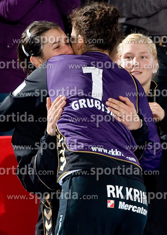 Andrea Lekic, Goalkeeper of Krim Jelena Grubisic and Maja Zrnec at handball match of Round 2 of Champions League between RK Krim Mercator and Aalborg DH, on October 31, 2009, in Arena Kodeljevo, Ljubljana, Slovenia.  Krim won 30:23. (Photo by Vid Ponikvar / Sportida)