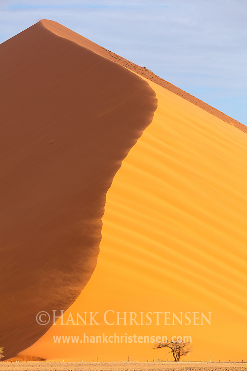 Desert winds whip clouds of sand off of a sharp edge of a massive dune, Namib-Naukluft National Park, Namibia.