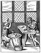 Dice Maker's Workshop. From 16th century woodcut by Jost Amman.
