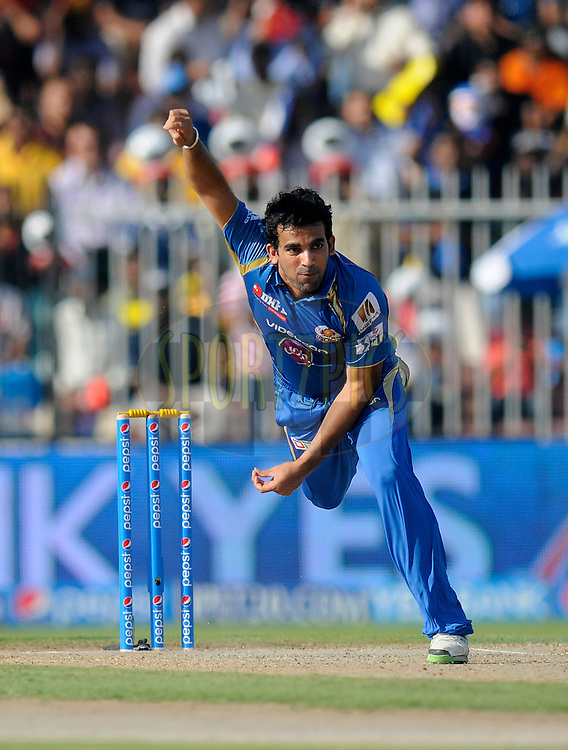 Zaheer Khan of the Mumbai Indians bowls during match 16 of the Pepsi Indian Premier League 2014 between the Delhi Daredevils and the Mumbai Indians held at the Sharjah Cricket Stadium, Sharjah, United Arab Emirates on the 27th April 2014<br /> <br /> Photo by Pal Pillai / IPL / SPORTZPICS