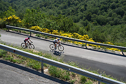 Ana van der Breggen attacks with 3km to go. Only Guarnier can follow at first at Giro Rosa 2016 - Stage 6. A 118.6 km road race from Andora to Alassio, Italy on July 7th 2016.