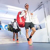 Roger Federer of Switzerland and Rafael Nadal of Spain ahead of the men's final on day fourteen of the 2017 Australian Open at Melbourne Park on January 29, 2017 in Melbourne, Australia.<br /> (Ben Solomon/Tennis Australia)