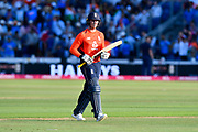 Wicket - Jason Roy of England walks back to the pavilion after being dismissed by Umesh Yadav of India during the International T20 match between England and India at the SWALEC Stadium, Cardiff, United Kingdom on 6 July 2018. Picture by Graham Hunt.