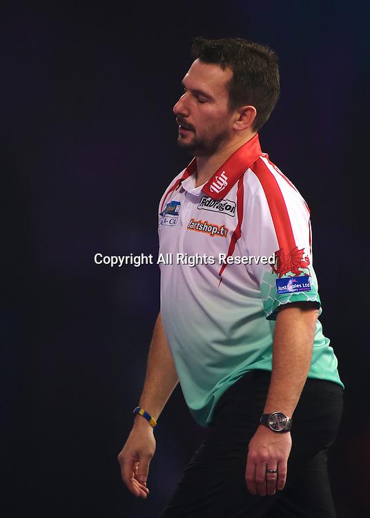 23.12.2016. Alexandra Palace, London, England. William Hill PDC World Darts Championship. Jonny Clayton reacts as he misses out on a leg winning chance
