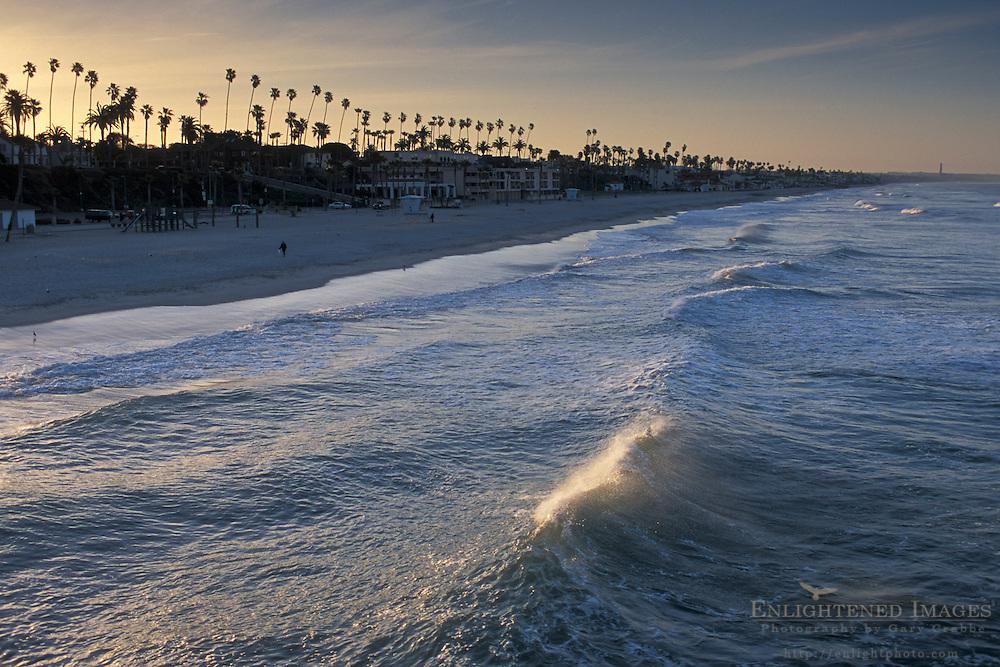 Waves breaking at sunrise at Oceanside Beach, Oceanside, San Diego County, CALIFORNIA