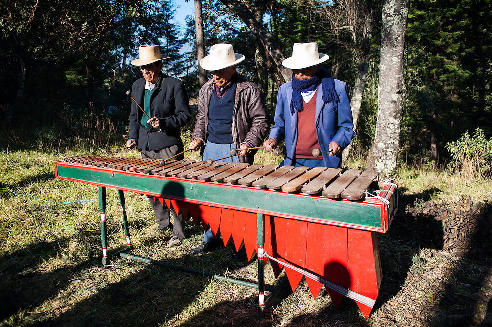 A Marimba band plays in a Mayan New Year ceremony in the hills just outside San Juan Ostuncalco.