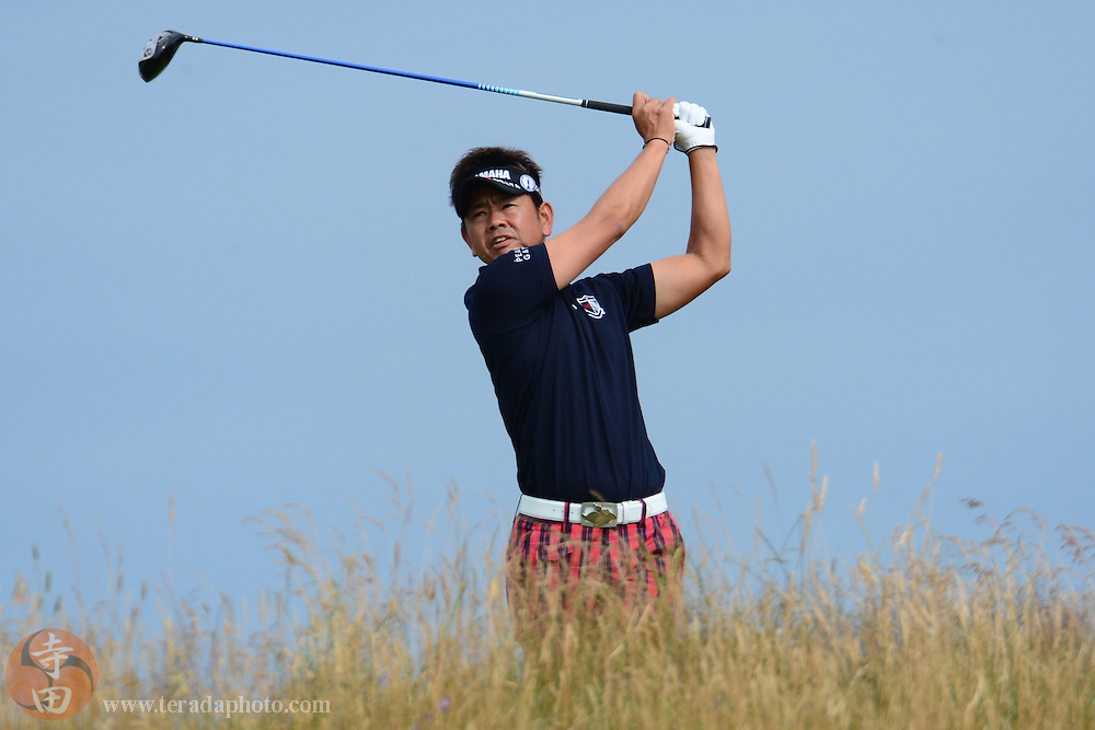 July 20, 2012; St. Annes, ENGLAND; Hiroyuki Fujita tees off on the 11th hole during the second round of the 2012 British Open Championship at Royal Lytham & St. Annes Golf Club.