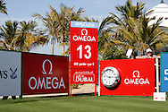 advertising boards on the tee Mercedes<br /> Omega Dubai Desert Classic, Emirates GC, UAE, January 2014<br /> Picture Credit:  Mark Newcombe / www.visionsingolf.com