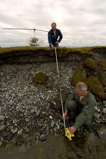 Research biologists with USGS from the Alaska Science Center, surveying the range of Polar Bears(Ursus maritimus) denning in the Arctic Nationa Wildlife Refuge. ANWR.