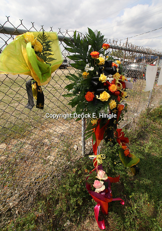 (Shot on March 6, 2009) A memorial is placed that the scene of a hit and run on Friday afternoon in support of fellow students that were killed while walking home shortly after 2:00am on the morning of March 6, 2008 on Nashville Street in Hammond, Louisiana after a drunk driver hit five students killing three and critically injuring one and leaving one student with minor injuries, the driver identified as 21-year-old Derek Quebedeaux also a Southeastern student was arrested by Hammond Police.. (Photo by: Derick Hingle)