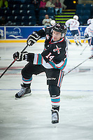 KELOWNA, CANADA - SEPTEMBER 25: Rourke Chartier #14 of the Kelowna Rockets warms up against the Kamloops Blazers on September 25, 2015 at Prospera Place in Kelowna, British Columbia, Canada.  (Photo by Marissa Baecker/Shoot the Breeze)  *** Local Caption *** Rourke Chartier;