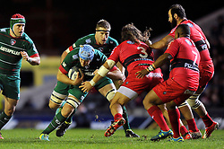 Jordan Crane of Leicester Tigers goes on the charge - Photo mandatory by-line: Patrick Khachfe/JMP - Mobile: 07966 386802 07/12/2014 - SPORT - RUGBY UNION - Leicester - Welford Road - Leicester Tigers v Toulon - European Rugby Champions Cup