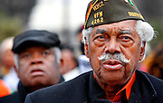 """Earl Reuben, 90, a World War II veteran, joins in singing """"Lift Ev'ry Voice and Sing"""" during the NAACP King Day at the Dome march and rally at the Statehouse, Monday, January 17,2011. Columbia, SC 1/13/11 <br /> 173galmh05"""