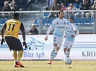 FODBOLD: Patrick Olsen (FC Helsingør) under kampen i ALKA Superligaen mellem FC Helsingør og Hobro IK den 8. april 2018 på Helsingør Stadion. Foto: Claus Birch.