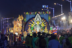 October 3, 2017 - Kolkata, West Bengal, India - Durga Idols during the Red road carnival in Kolkata.  West Bengal government organized Red Road carnival to show case award winning Durga idol of this year before immersion on October 3, 2017 in Kolkata. (Credit Image: © Saikat Paul/Pacific Press via ZUMA Wire)