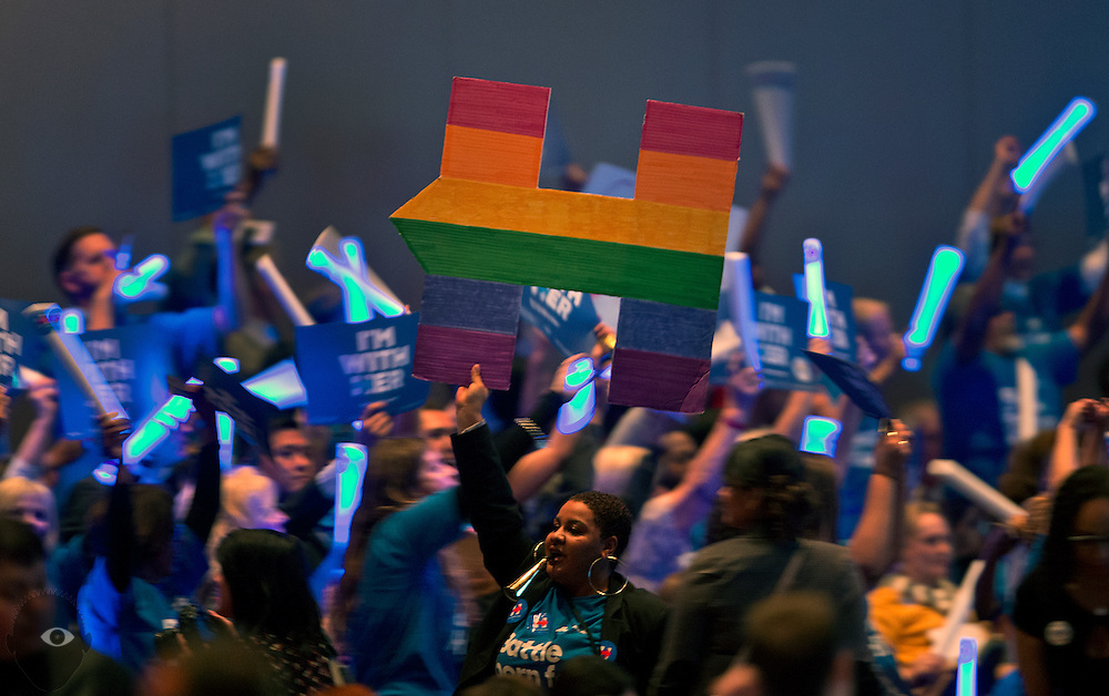 "Hillary Clinton supporters cheer for her during the Nevada State Democratic Party ""Battle Born / Battleground"" First in the West Caucus Dinner at The MGM Grand on Wednesday, January 6, 2015.  L.E. Baskow"