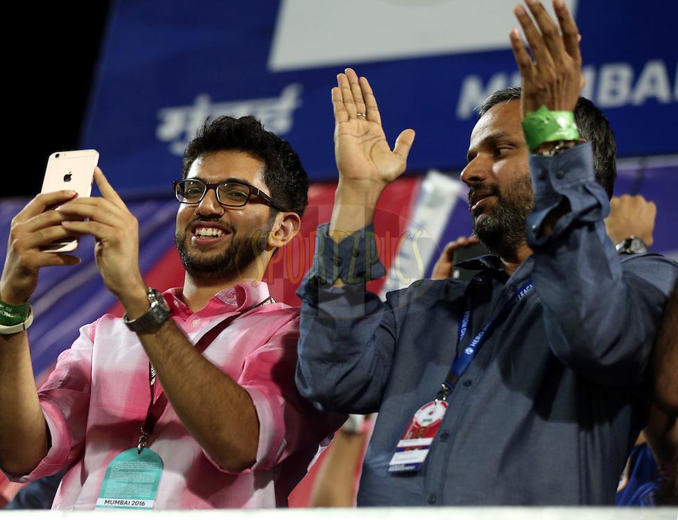 Aditya Thackeray yuva sena leader and  Sundar Raman CEO of Sports Reliance Industries during match 7 of the Indian Super League (ISL) season 3 between Mumbai City FC and NorthEast United FC held at the Mumbai Football Arena in Mumbai, India on the 7th October 2016.<br /> <br /> Photo by Sandeep Shetty / ISL/ SPORTZPICS