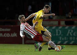 Michael Tonge of Stevenage fouls Chris Lines of Bristol Rovers - Mandatory by-line: Robbie Stephenson/JMP - 19/04/2016 - FOOTBALL - Lamex Stadium - Stevenage, England - Stevenage v Bristol Rovers - Sky Bet League Two