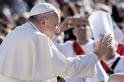 November 9, 2016 - Vatican City, Vatican - Pope Francis blesses as he is driven across the crowd ahead of his weekly general audience, in St. Peter's Square, at the Vatican, Wednesday, Nov. 9, 2016. (Credit Image: © Massimo Valicchia/NurPhoto via ZUMA Press)