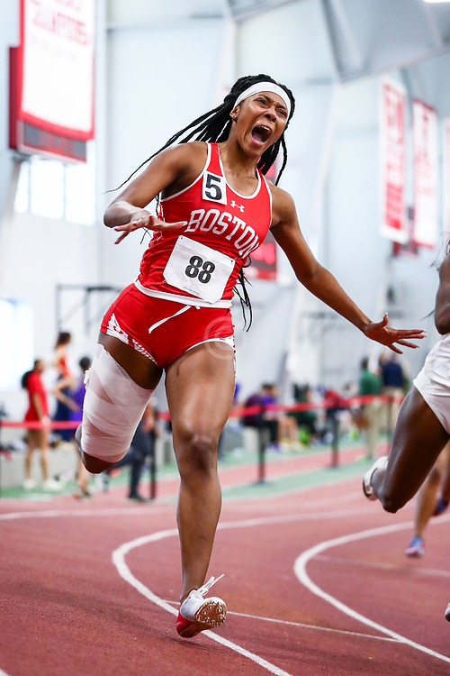 womens 200 meters, BU, Alicia Thomas, injury<br /> Boston University Scarlet and White<br /> Indoor Track & Field, Bruce LeHane
