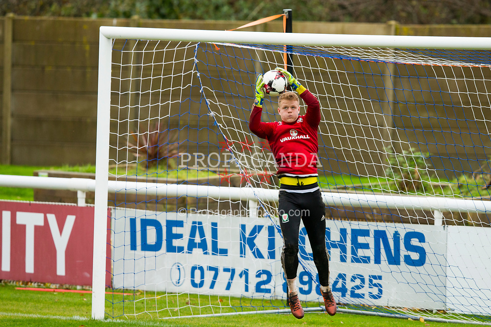 BANGOR, WALES - Tuesday, November 7, 2017: Wales' Wales' goalkeeper Luke Pilling during a training session at VSM Bangor City Stadium ahead of the UEFA Under-21 European Championship Qualifying Group 8 match against Bosnia and Herzegovina. (Pic by Paul Greenwood/Propaganda)