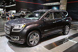 12 February 2015:  2015 GMC ACADIA: Continual refinements greet the Acadia for 2015, offered in: SLE (with SLE-1 and SLE-2 trims), the SLT (with SLT-1 and SLT-2 trims) and the Denali models, with seven- or eight-passenger configurations. The Acadia features a 3.6-liter engine with direct injection technology that helps produce power similar to many V-8 engines. In the Acadia Denali, it is rated at 288 horsepower and 270 lb-ft of torque. In SLE and SLT models, the engine is rated at 281 horsepower and 266 lb-ft of torque. In all models, it is mated to the Hydra-Matic six-speed automatic transmission, with clutch-to-clutch shift operation for front- and all-wheel-drive vehicles. It also offers automatic grade braking, shift stabilization and precise shift control, as well as hill start assist. The available intelligent all-wheel-drive (AWD) system provides increased traction on slippery roads by actively managing the torque distribution between the front and rear axles, and delivers it to the wheels that have the best traction. With five passengers aboard, the Acadia holds 24.1 cu. ft. of cargo, which increases to 70.1 behind the second row, and up to 116.1 cu. ft. of gear behind first row. Acadia is the first vehicle on the market with GMC's new front center air bag system, and some of the popular options include rear-seat entertainment, a Dual SkyScape sunroof and a trailering package. Chicago Auto Show Fact: General Motors selected the 2012 Chicago Auto Show to unveil the new 2013 GMC Acadia crossover vehicle.<br /> <br /> First staged in 1901, the Chicago Auto Show is the largest auto show in North America and has been held more times than any other auto exposition on the continent. The 2015 show marks the 107th edition of the Chicago Auto Show. It has been  presented by the Chicago Automobile Trade Association (CATA) since 1935.  It is held at McCormick Place, Chicago Illinois