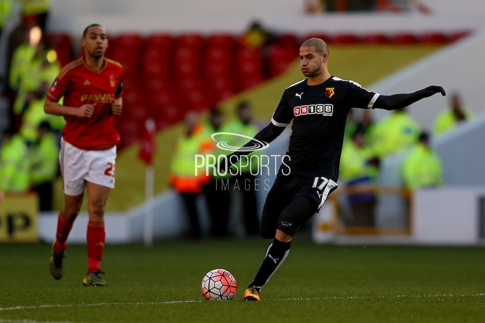 Watford midfielder Adlene Guedioura  during the The FA Cup fourth round match between Nottingham Forest and Watford at the City Ground, Nottingham, England on 30 January 2016. Photo by Simon Davies.