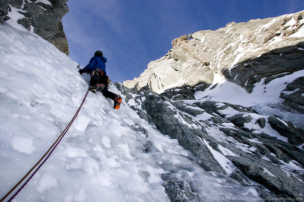 Colin Haley climbing the Albonini-Gabaru on Mont Blanc du Tacul, Chamonix France