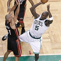 03 June 2012: Boston Celtics power forward Kevin Garnett (5) takes a jumpshot over Miami Heat small forward Shane Battier (31) during the second quarter of Game 4 of the Eastern Conference Finals playoff series, Heat at Celtics, at the TD Banknorth Garden, Boston, Massachusetts, USA.