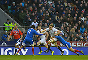 Twickenham, GREAT BRITAIN, Joe LAUNCHBURY on the charge with ball in hand, during the 2013, 6 Nations Rugby match, England vs France. Played at the RFU Stadium Twickenham, Surrey on, Saturday  23/02/2013  [Photo, Peter Spurrier/Intersport-images]