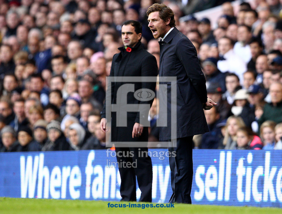 Picture by Paul Terry/Focus Images Ltd +44 7545 642257.03/11/2012.Andre Villas-Boas ( R ), manager of Tottenham Hotspur and Roberto Martinez, manager of Wigan Athletic during the Barclays Premier League match at White Hart Lane, London.