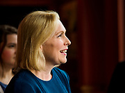 17 APRIL 2019 - DES MOINES, IOWA: US Senator KIRSTEN GILLIBRAND (D-NY), waits to talk to Drake University students before a meet and greet with the students at a restaurant in Des Moines. Gillibrand is touring Iowa this week to support her candidacy to be the Democratic nominee for the US Presidency. Iowa traditionally hosts the the first selection event of the presidential election cycle. The Iowa Caucuses will be on Feb. 3, 2020.               PHOTO BY JACK KURTZ