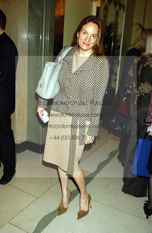 EMILY OPPENHEIMER at a lunch and fashion show by Bruce Oldfield in aid of Barnados and held at Claridges, Brook Street, London W1 on 22nd September 2004.<br />