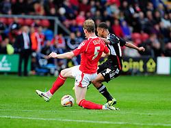Bristol City's Bobby Reid takes a shot at goal. - Photo mandatory by-line: Dougie Allward/JMP - Tel: Mobile: 07966 386802 19/10/2013 - SPORT - FOOTBALL - Alexandra Stadium - Crewe - Crewe V Bristol City - Sky Bet League One