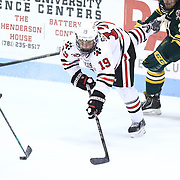 Mike Szmatula #19 of the Northeastern Huskies attacks the puck during the game at Matthews Arena on January 18, 2014 in Boston, Massachusetts. (Photo by Elan Kawesch)