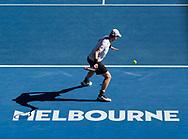 ANDY MURRAY (GBR) spielt Vorhand, von oben,Schatten, Melbourne Schriftzug,Logo,<br /> <br /> Australian Open 2017 -  Melbourne  Park - Melbourne - Victoria - Australia  - 22/01/2017.