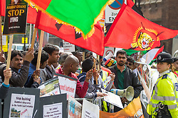 St James, London, May 12th 2016. Tamil, Afghan, Nigerian and Biafran protesters demonstrate outside the anti-corruption conference taking place at Lancaster House. PICTURED: Tamil protesters demonstrate against the Sri Lankan leadership.
