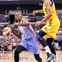 08 August 2014: Atlanta Dream forward Sancho Lyttle (20) drives past Los Angeles Sparks forward/center Candace Parker (3) during the Los Angeles Sparks 80-77 overtime win over the Atlanta Dream, at the Staples Center, Los Angeles, California, USA.
