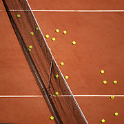 PARIS, FRANCE May 23.  Tennis balls on the clay court surface doing practice at the 2019 French Open Tennis Tournament at Roland Garros on May 23rd 2019 in Paris, France. (Photo by Tim Clayton/Corbis via Getty Images)