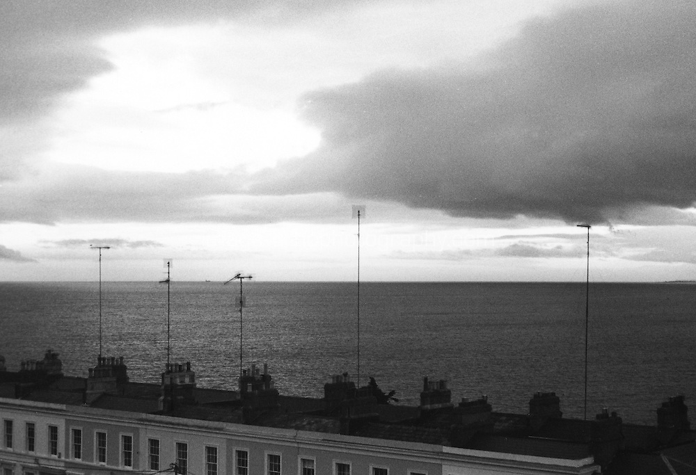 Sorrento Terrace rooftops in Dublin Ireland, black and white grainy film used