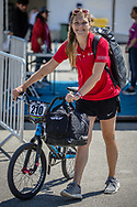 Women Elite #210 (CHRISTENSEN Simone Tetsche) DEN arriving on race day at the 2018 UCI BMX World Championships in Baku, Azerbaijan.