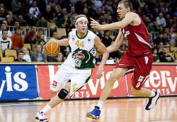 Matt Walsh of Olimpija vs Elmedin Kikanovic  at basketball match of NLB League between KK Union Olimpija and KK Crvena zvezda,  on October 24, 2009, Arena Tivoli, Ljubljana, Slovenia.  Union Olimpija won 94:76.  (Photo by Vid Ponikvar / Sportida)