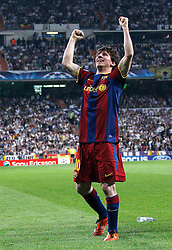 27-04-2011 VOETBAL: SEMI FINAL CL REAL MADRID - FC BARCELONA: MADRID<br /> Lionel Messi goal during Champions League semifinal first match <br /> *** NETHERLANDS ONLY***<br /> ©2011-FH.nl-EXPA/ Alterphotos/ ALFAQUI / Alex Cid-Fuentes