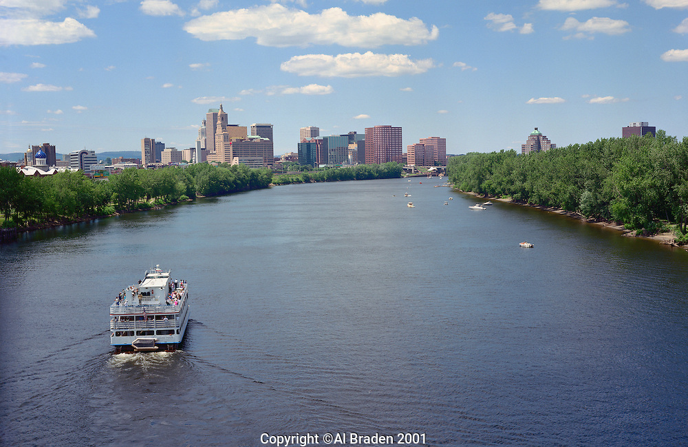 Skyline and Mark Twain Cruise Boat on the Connecticut River, Hartford, CT