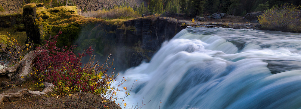 Lower Mesa Falls crashes over a basalt cliff, Henry's Fork of the Snake River.