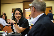 Christina Rodriguez of Praxair networks during the Silicon Valley Business Journal's Future of Fremont event at Fremont Marriott Silicon Valley in Fremont, California, on June 18, 2019.  (Stan Olszewski for Silicon Valley Business Journal)