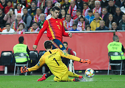 March 23, 2019 - Valencia, Valencia, Spain - Morata of Spain and Jarstein of Norway in action during European Qualifiers championship, , football match between Spain and Norway, March 23th, in Mestalla Stadium in Valencia, Spain. (Credit Image: © AFP7 via ZUMA Wire)