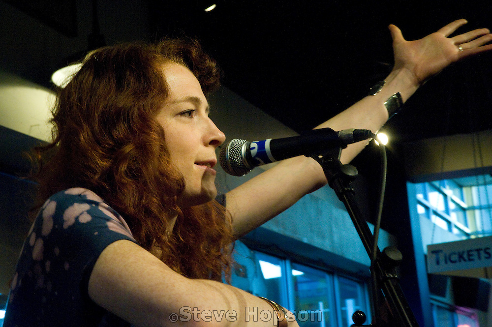 "Melissa Auf der Maur performs at Waterloo Records as part of ""Live at Last,"" a Leonard Cohen tribute during South by Southwest 2009, Austin Texas, March 21, 2009.  Melissa Auf der Maur (b. 1972) is a Canadian rock musician."