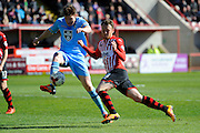 Morecambe's Adam Dugdale and Exeter City's Jake Taylor during the Sky Bet League 2 match between Exeter City and Morecambe at St James' Park, Exeter, England on 30 April 2016. Photo by Graham Hunt.